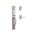 Baldwin  LONxTAP-RSR  Longview Full Escutcheon Handleset with Taper Lever and Rustic Square Rose Ent