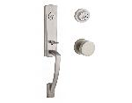 Baldwin  MIAxCON-CRR  Miami 3/4 Escutcheon Handleset with Contemporary Knob and Contemporary Round R