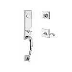 Baldwin  DELxCUR-TSR  Del Mar 3/4 Escutcheon Handleset with Curve Lever and Traditional Square Rose