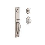 Baldwin  LONxRUS-RAR  Longview Full Escutcheon Handleset with Rustic Knob and Rustic Arch Rose Entra